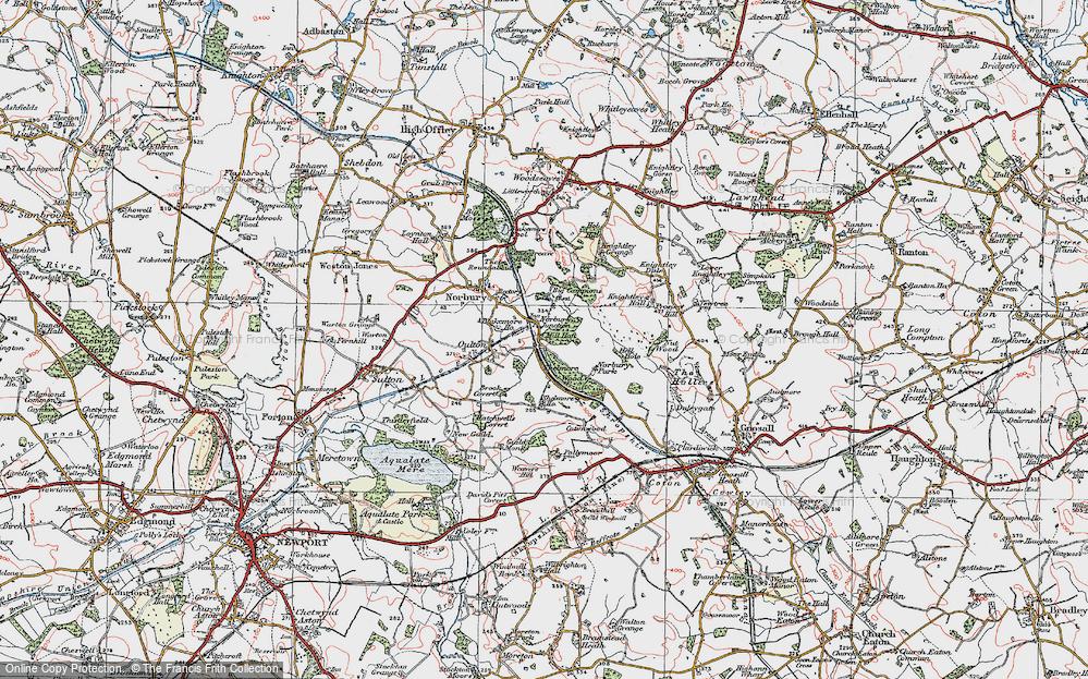 Old Map of Norbury Junction, 1921 in 1921