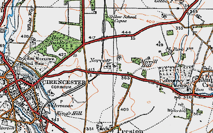 Old map of Yellow School Copse in 1919