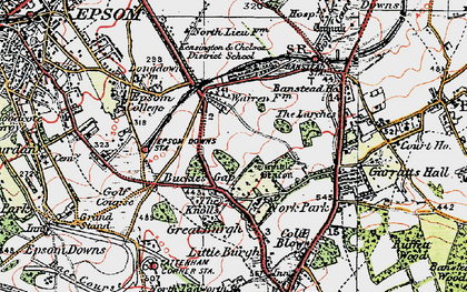 Old map of Nork in 1920