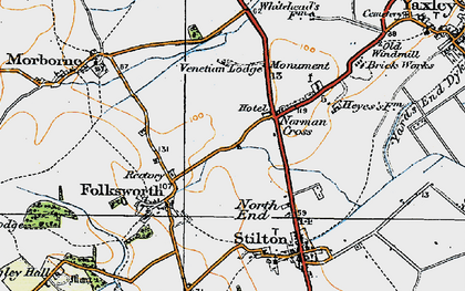 Old map of Norman Cross in 1920