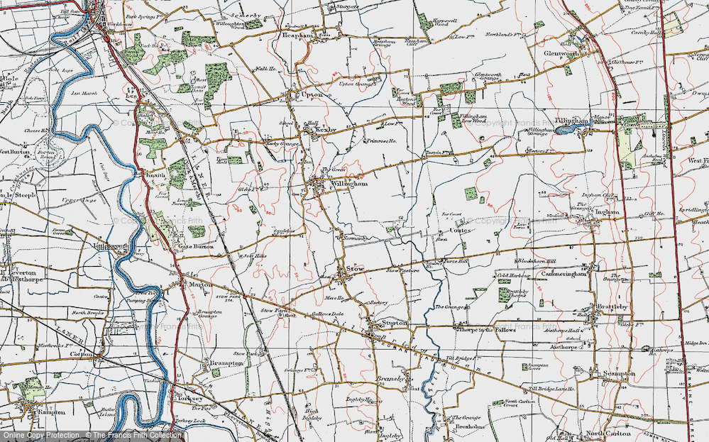 Old Map of Normanby by Stow, 1923 in 1923