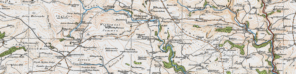 Old map of Withypool Hill in 1919