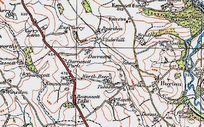 Old map of North Beer in 1919