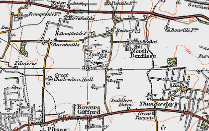 Old map of North Benfleet in 1921