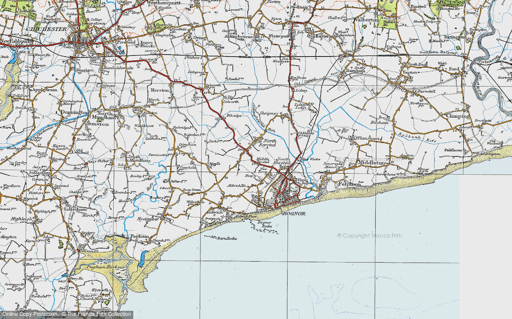 Old Map of Historic Map covering Aldingbourne Rife in 1920