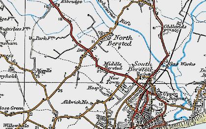 Old map of Aldingbourne Rife in 1920