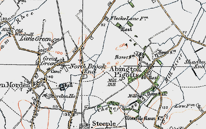 Old map of North Brook End in 1919