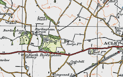 Old map of Acle Hall in 1922