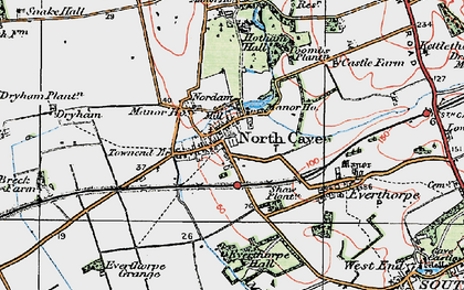 Old map of North Cave in 1924
