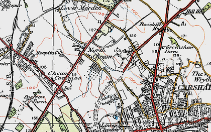 Old map of North Cheam in 1920
