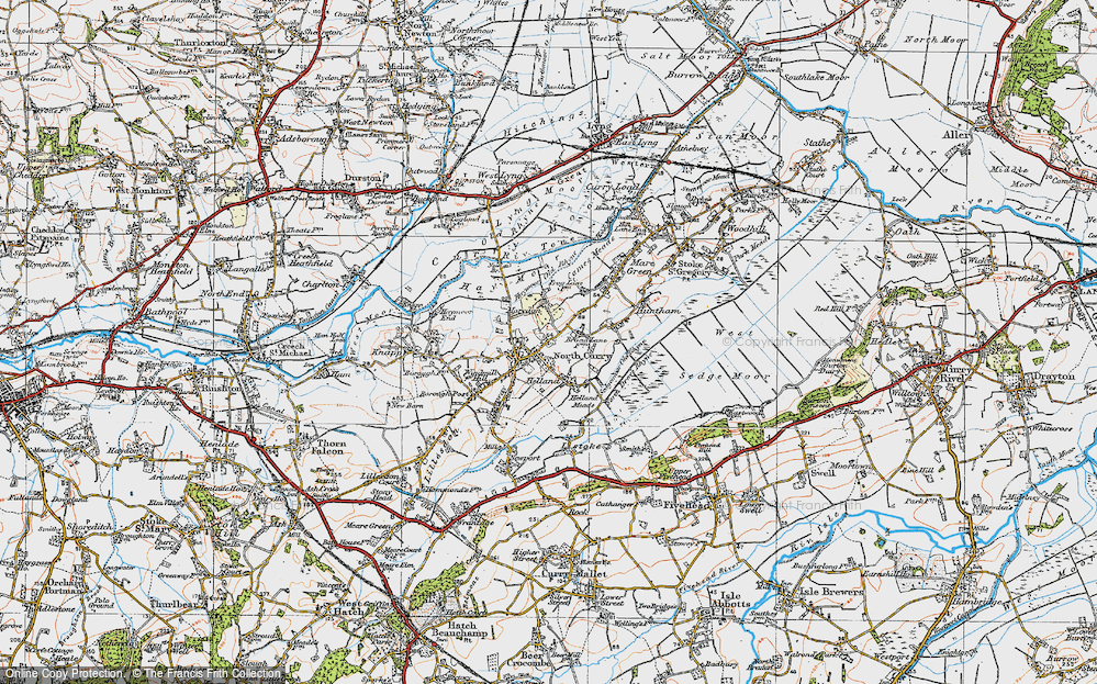 Old Map of North Curry, 1919 in 1919