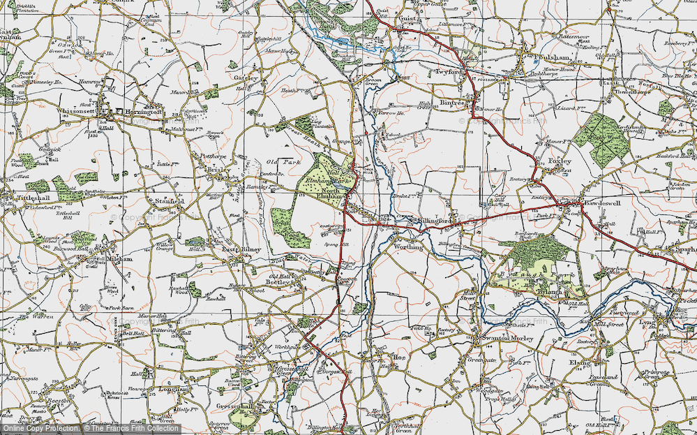 Old Map of North Elmham, 1921 in 1921