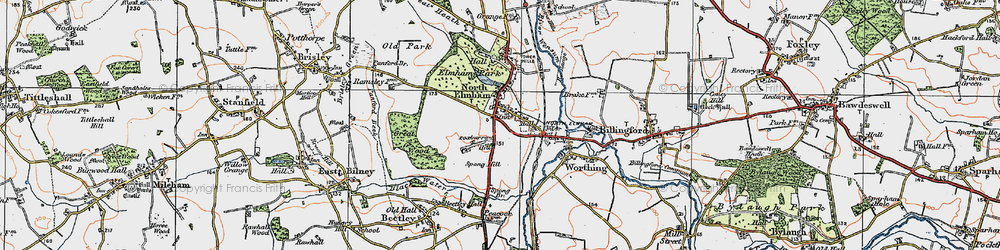 Old map of North Elmham in 1921