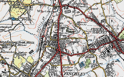 Old map of North Finchley in 1920