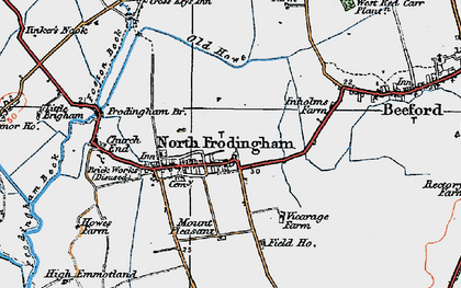 Old map of North Frodingham in 1924