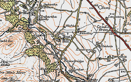 Old map of North Hill in 1919