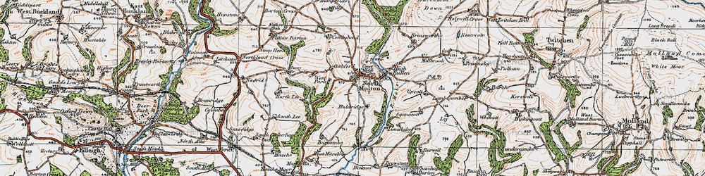 Old map of North Molton in 1919