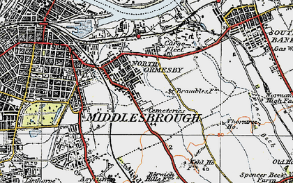 Old map of North Ormesby in 1925