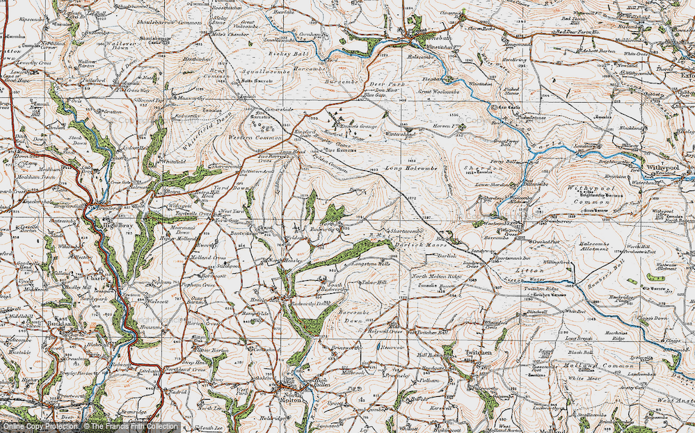 Old Map of Historic Map covering Western Common in 1919