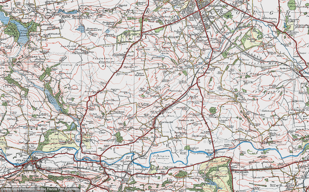 Old Map of Historic Map covering Almscliff Crag in 1925