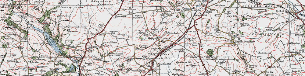 Old map of Almscliff Crag in 1925