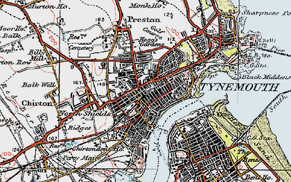 Old map of North Shields in 1925