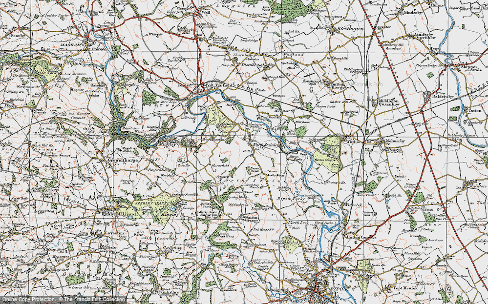 Old Map of Historic Map covering Lightwater Valley in 1925