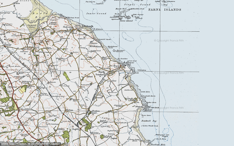 Map of North Sunderland, 1926 - Francis Frith