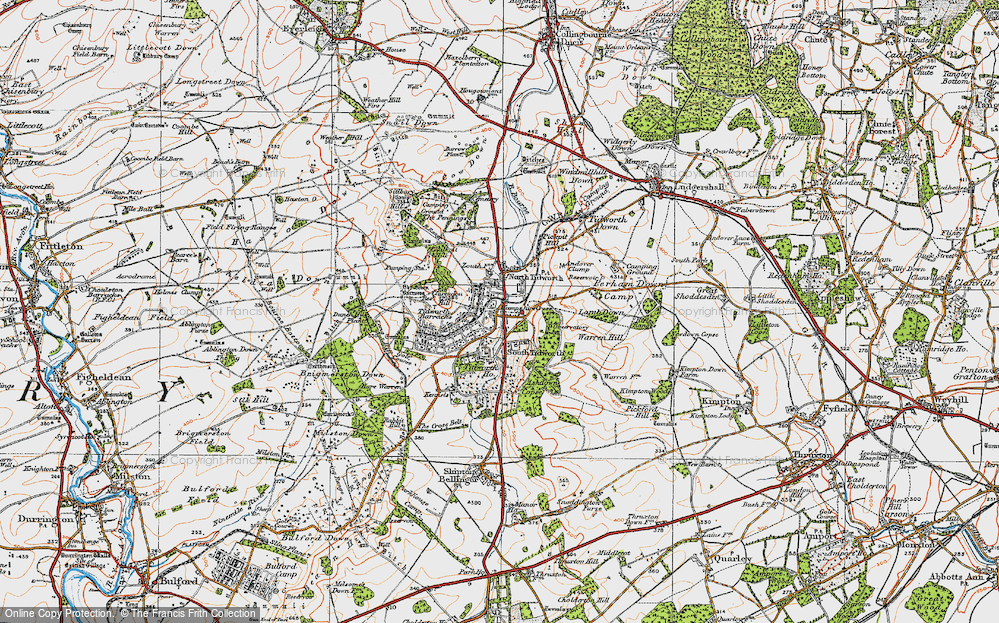Old Map of Historic Map covering Tidworth Ho in 1919