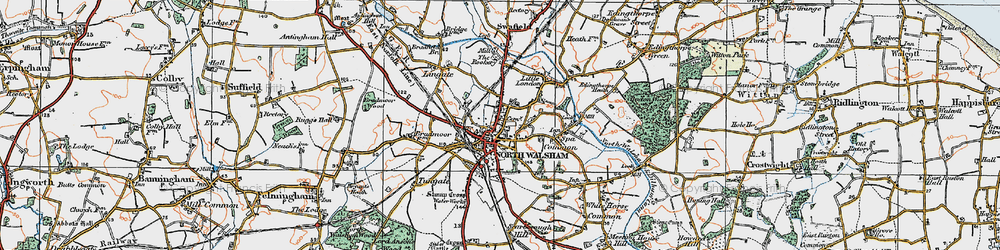 Old map of North Walsham in 1922