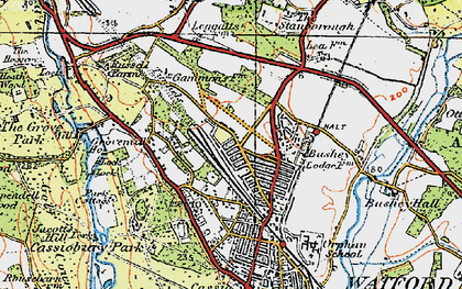 Old map of North Watford in 1920