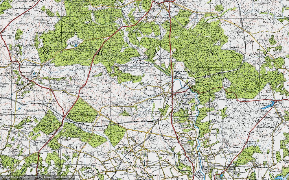 Old Map of Historic Map covering Aldridgehill Inclosure in 1919