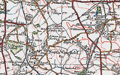 Old map of North Wingfield in 1923