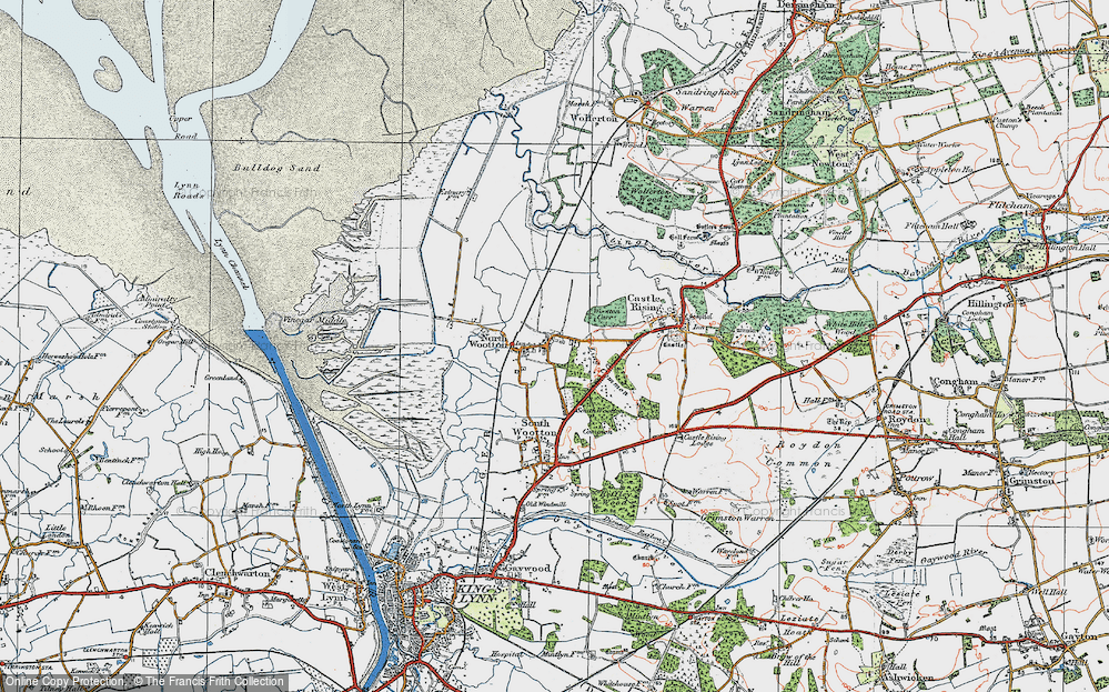 Old Map of Historic Map covering Ling Common in 1922