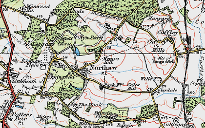 Old map of Northaw in 1920