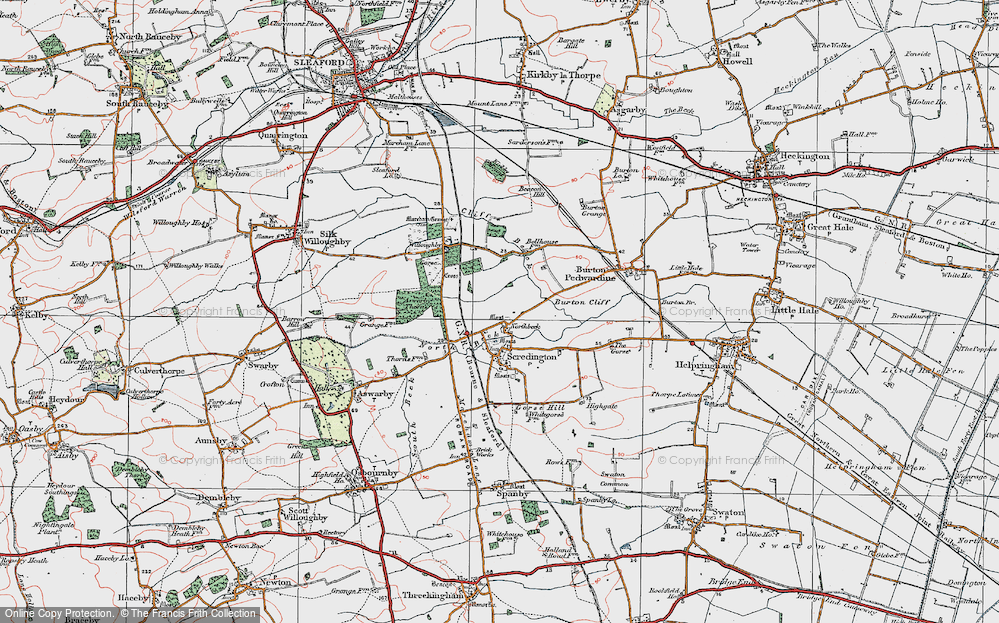 Old Map of Historic Map covering Aswarby Thorns in 1922