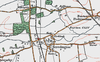 Old map of Willoughby Gorse in 1922