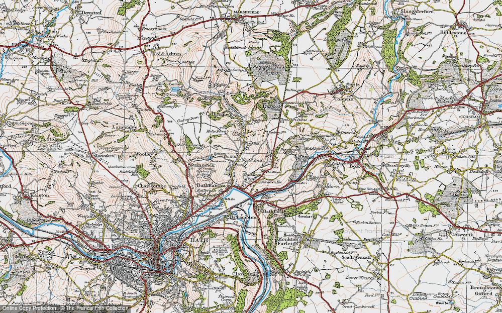 Old Map of Historic Map covering Banner Down in 1919