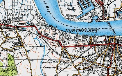 Old map of Northfleet in 1920