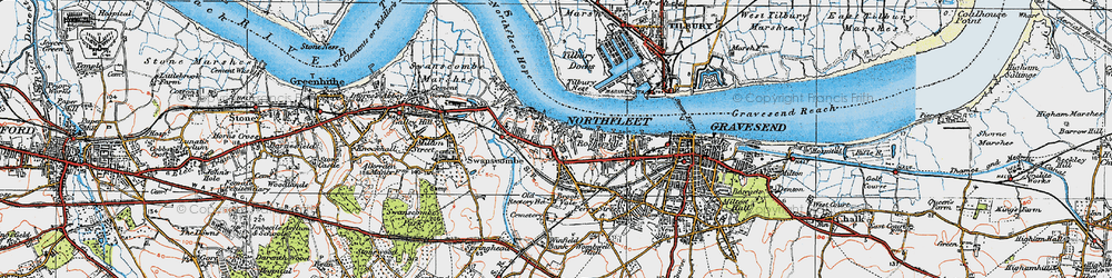 Old map of Tilbury Ness in 1920