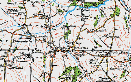 Old map of Northlew in 1919
