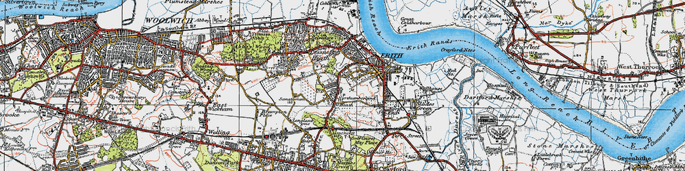 Old map of Northumberland Heath in 1920