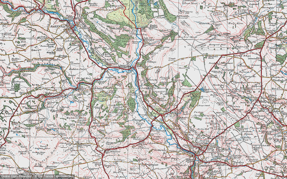 Old Map of Historic Map covering Tinkersley in 1923