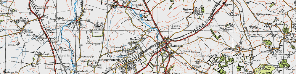 Old map of Norton in 1919