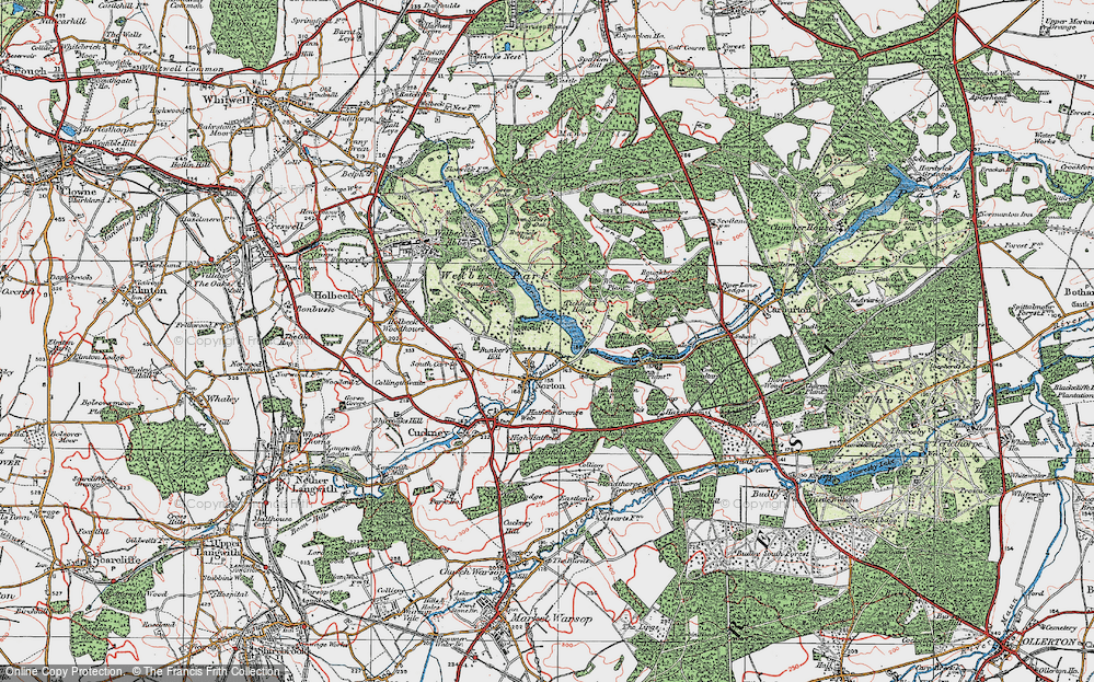 Old Map of Historic Map covering Wood Barn Plantn in 1923