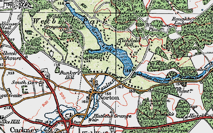 Old map of Wood Barn Plantn in 1923