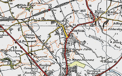 Old map of Norton in 1925