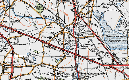 Old map of Norton Canes in 1921