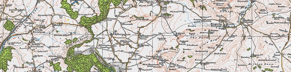 Old map of White Sheet Downs in 1919