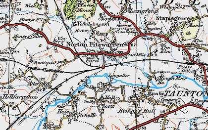 Old map of Norton Fitzwarren in 1919